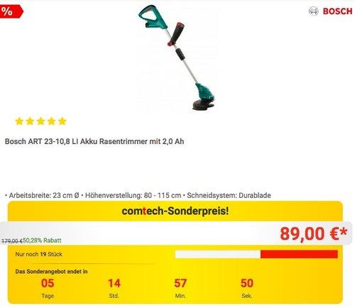 Bosch ART 23-10,8 LI Akku Rasentrimmer mit 2,0 Ah Akku - jetzt 19% billiger