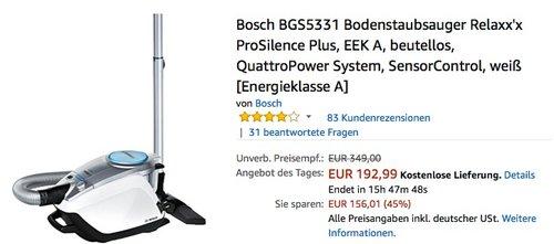 Bosch BGS5331 Bodenstaubsauger Relaxx'x ProSilence Plus - jetzt 20% billiger