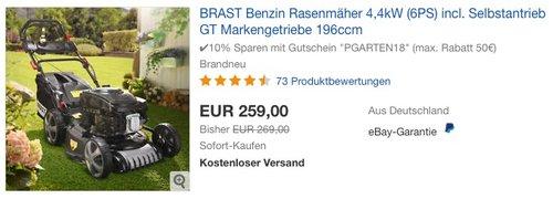 BRAST Benzin Rasenmäher 4,4kW (6PS) incl. Selbstantrieb GT Markengetriebe 196ccm - jetzt 10% billiger