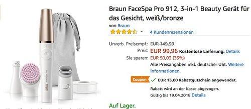 Braun FaceSpa Pro 912, 3-in-1 Beauty Gerät für das Gesicht, weiß/bronze - jetzt 15% billiger