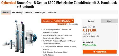 Braun Oral-B Genius 8900 Elektrische Zahnbürste mit 2. Handstück + Bluetooth - jetzt 8% billiger