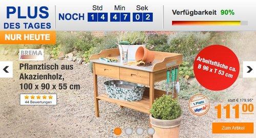 BREMA Pflanztisch aus Akazienholz, 100 x 90 x 55 cm - jetzt 23% billiger