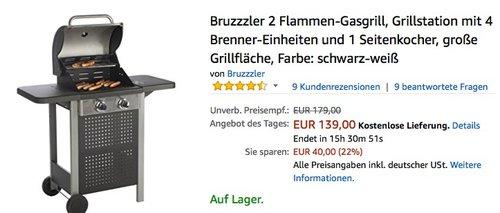 Bruzzzler 2 Flammen-Gasgrill - jetzt 22% billiger