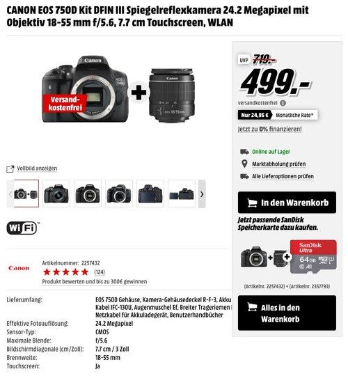 CANON EOS 750D Kit DFIN III Spiegelreflexkamera 24.2 Megapixel mit Objektiv 18-55 mm f/5.6 - jetzt 8% billiger