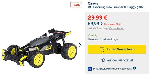 Carrera RC Fahrzeug Neo Jumper II (Buggy gelb) - jetzt 11% billiger