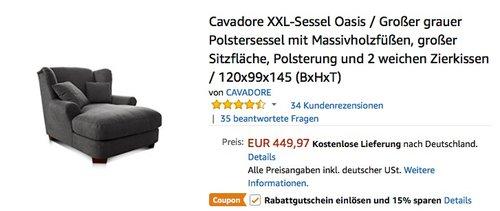 Cavadore XXL-Sessel Oasis / Großer grauer Polstersessel mit Massivholzfüßen - jetzt 15% billiger