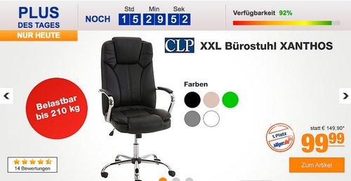 CLP XXL Bürostuhl XANTHOS mit hochwertiger Polsterung und Kunstlederbezug - jetzt 23% billiger