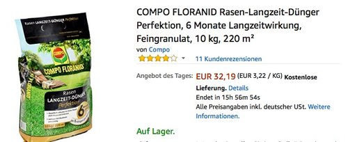 COMPO FLORANID Rasen-Langzeit-Dünger Perfektion 10 Kg - jetzt 29% billiger