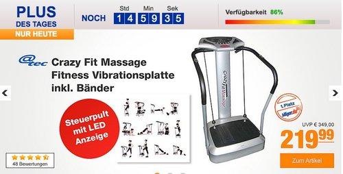 Crazy Fit Massage Fitness Vibrationsplatte inkl. Bänder Silber - jetzt 10% billiger