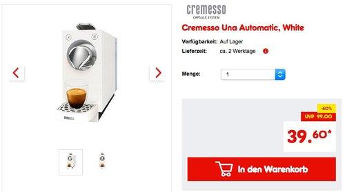 Cremesso Una Automatic Kaffeekapselmaschine, White - jetzt 34% billiger