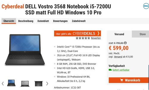 DELL Vostro 3568 Notebook i5-7200U SSD matt Full HD Windows 10 Pro - jetzt 16% billiger