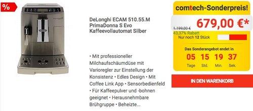 DeLonghi ECAM 510.55.M PrimaDonna S Evo Kaffeevollautomat - jetzt 17% billiger