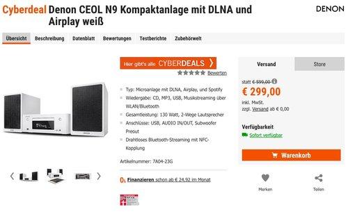 Denon CEOL N9 Kompaktanlage mit DLNA und Airplay weiß - jetzt 18% billiger