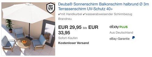 Deuba® Sonnenschirm Balkonschirm halbrund Ø 3m in Creme oder Rot - jetzt 9% billiger