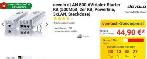 devolo dLAN 500 AVtriple+ Starter Kit - jetzt 50% billiger