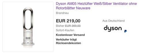 Dyson AM05 Heizlüfter Weiß/Silber Ventilator - jetzt 22% billiger
