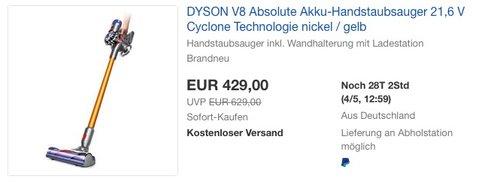 DYSON V8 Absolute Akku-Handstaubsauger - jetzt 7% billiger