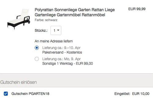 eBay 10% Rabatt auf Garten und Terasse: TecTake Polyrattan Sonnenliege Gartenliege - jetzt 10% billiger