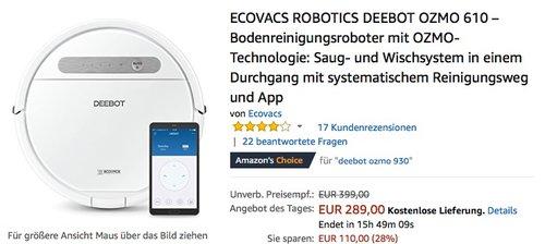 ECOVACS ROBOTICS DEEBOT OZMO 610 – Bodenreinigungsroboter mit OZMO-Technologie - jetzt 23% billiger