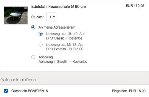 Edelstahl Feuerschale Ø 80 cm - jetzt 10% billiger