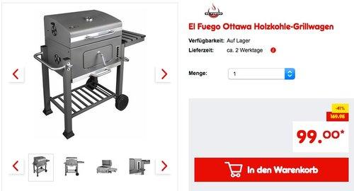 El Fuego Ottawa Holzkohle-Grillwagen - jetzt 13% billiger