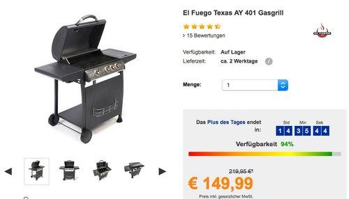 El Fuego Texas AY 401 Gasgrill - jetzt 26% billiger
