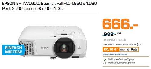 EPSON EH-TW5600 Beamer, 1.920 x 1.080 Pixel, 2500 Lumen, 3D - jetzt 17% billiger