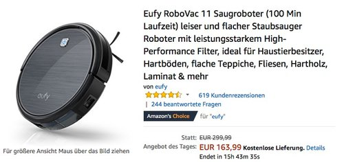 Eufy RoboVac 11 Saugroboter - jetzt 15% billiger