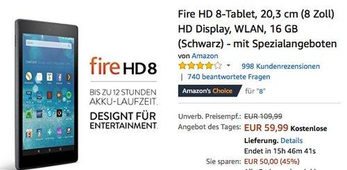 Fire HD 8-Tablet, 20,3 cm (8 Zoll) HD Display, WLAN, 16 GB - jetzt 45% billiger