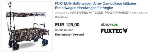 FUXTEC faltbarer Bollerwagen FX-BW100 Army Camouflage - jetzt 10% billiger