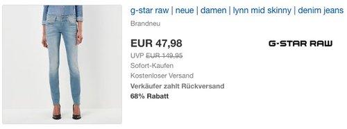 G-STAR RAW Damen Jeans Lynn Mid Skinny - jetzt 20% billiger