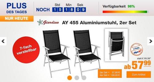 Giardino AY 455 Aluminiumstuhl 7-fach verstellbar 2er Set - jetzt 17% billiger