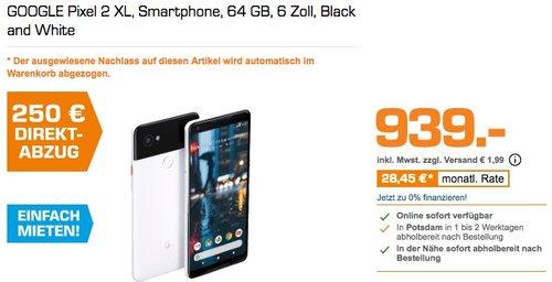 GOOGLE Pixel 2 XL, Smartphone, 64 GB, 6 Zoll, Black and White - jetzt 17% billiger