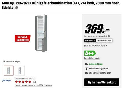 GORENJE RK6202EX Kühlgefrierkombination - jetzt 12% billiger