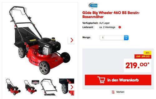 Güde Big Wheeler 460 BS Benzin-Rasenmäher - jetzt 13% billiger