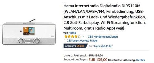 Hama Internetradio Digitalradio DIR3110M - jetzt 20% billiger