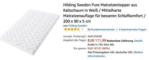 Hilding Sweden Pure Matratzentopper aus Kaltschaum 200 x 90 x 5 cm - jetzt 20% billiger