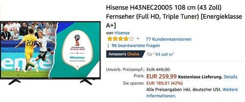 Hisense H43NEC2000S 108 cm (43 Zoll) Fernseher - jetzt 10% billiger