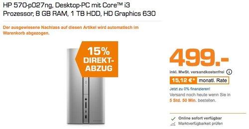 HP 570-p027ng, Desktop-PC mit Core™ i3 Prozessor, 8 GB RAM, 1 TB HDD, HD Graphics 630 - jetzt 15% billiger