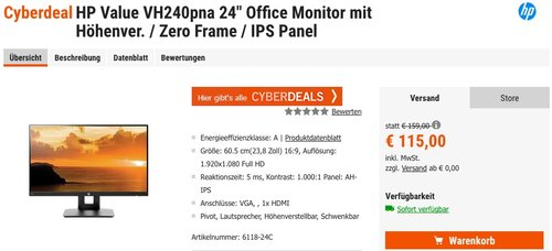"HP Value VH240a 24"" Office Monitor - jetzt 15% billiger"