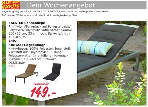 IKEA FALSTER Sonnenliege  + KUNGSÖ Liegeauflage - jetzt 28% billiger