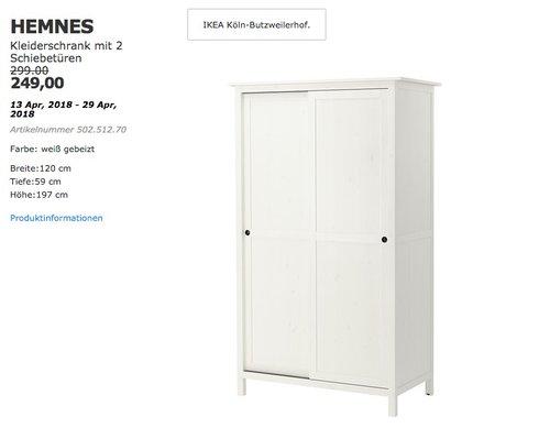 IKEA HEMNES Kleiderschrank mit 2 Schiebetüren - jetzt 17% billiger