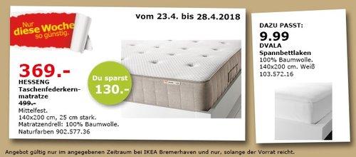 IKEA HESSENG Taschenfedernmatratze - jetzt 26% billiger