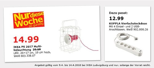 IKEA PS 2017 Multibeleuchtung - jetzt 50% billiger