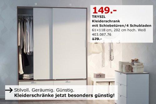 IKEA TRYSIL Kleiderschrank mit Schiebetüren/ 4 Schubladen - jetzt 17% billiger