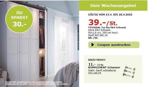 IKEA TYSSEDAL Tür für PAX Schrank - jetzt 43% billiger