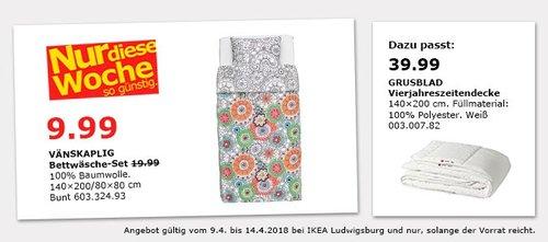 IKEA VÄNSKAPLIG Bettwäsche-Set - jetzt 50% billiger