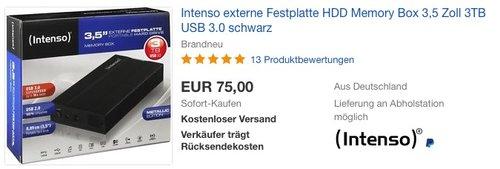 Intenso externe Festplatte HDD Memory Box 3,5 Zoll 3TB USB 3.0 schwarz - jetzt 6% billiger
