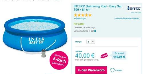INTEX Swimming Pool - Easy Set mit Filterpumpe, 396 x 84 cm - jetzt 42% billiger