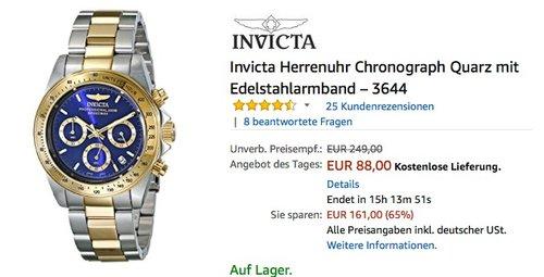Invicta Herrenuhr Chronograph Quarz mit Edelstahlarmband – 3644 - jetzt 16% billiger
